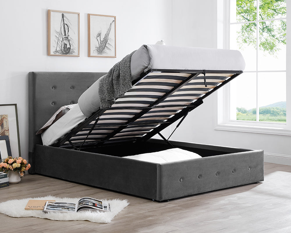 Paloma Smoke Velvet Storage Bed