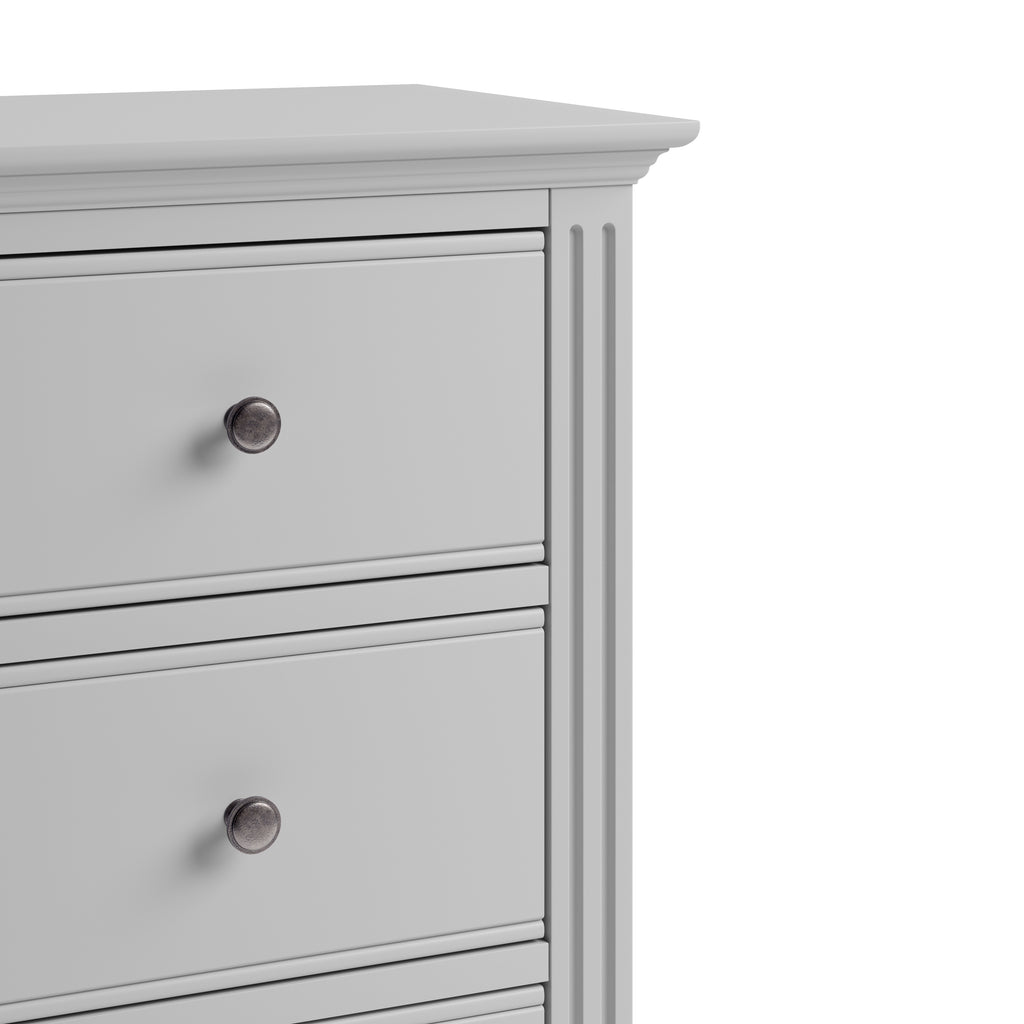 Paris 5 Drawer Narrow Chest Grey