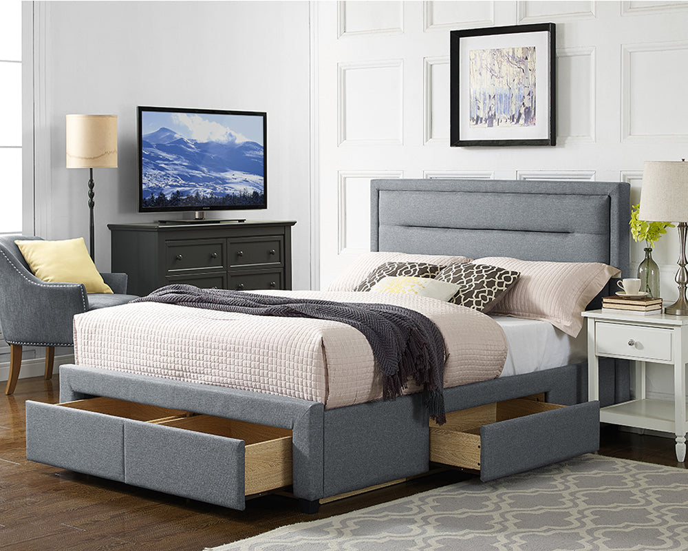 Caren Grey Fabric Storage 4 Drawer Bed Frame