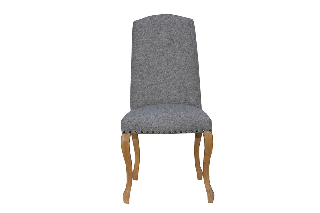 New York Luxury Chair with Studs and Carved Oak Legs  Light Grey