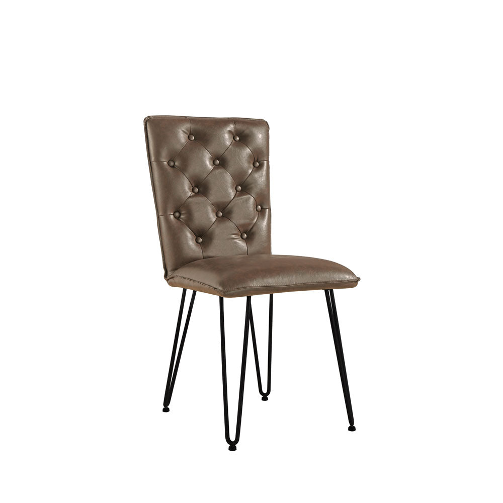 New York Studded back chair with hairpin legs  Brown