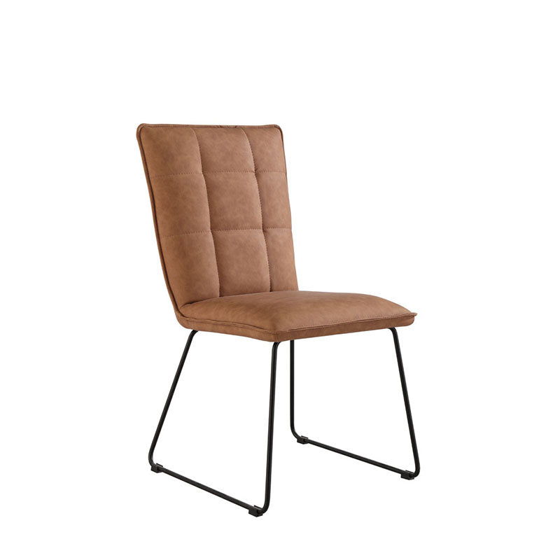 New York Panel back chair with angled legs  Tan