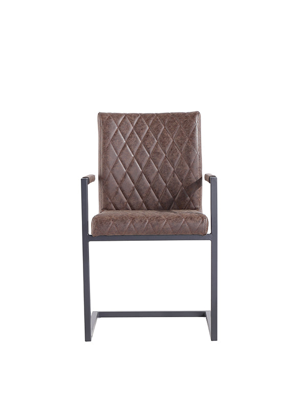 New York Diamond stitch carver chair  Brown