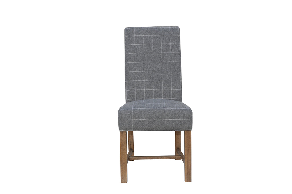 New York Woolen Upholstered Chair Check Grey