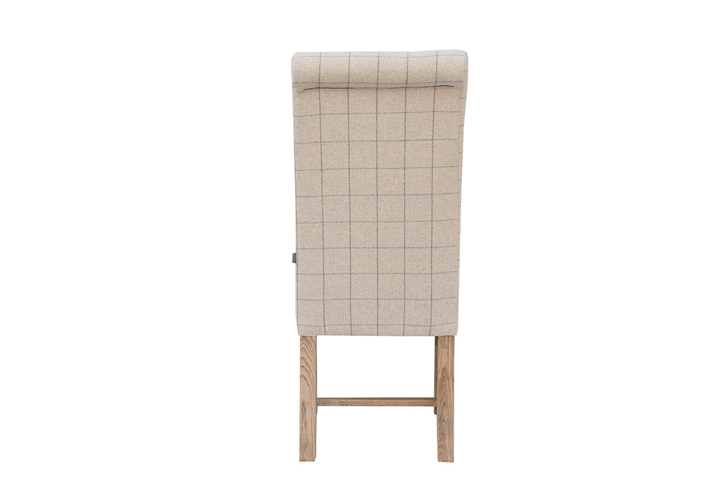 New York Woolen Upholstered Chair Check Natural
