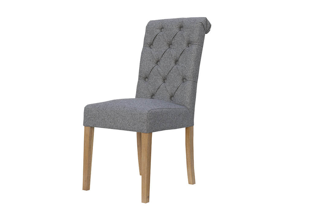 New York Button back chair with scroll top  Light Grey