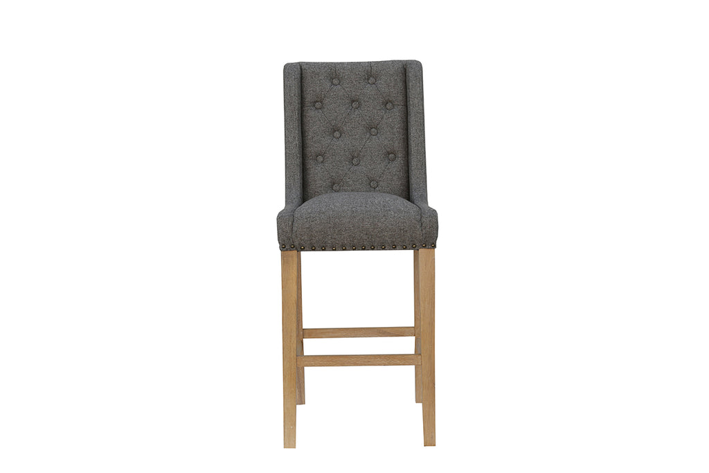 New York Button back stool with studs  Dark Grey