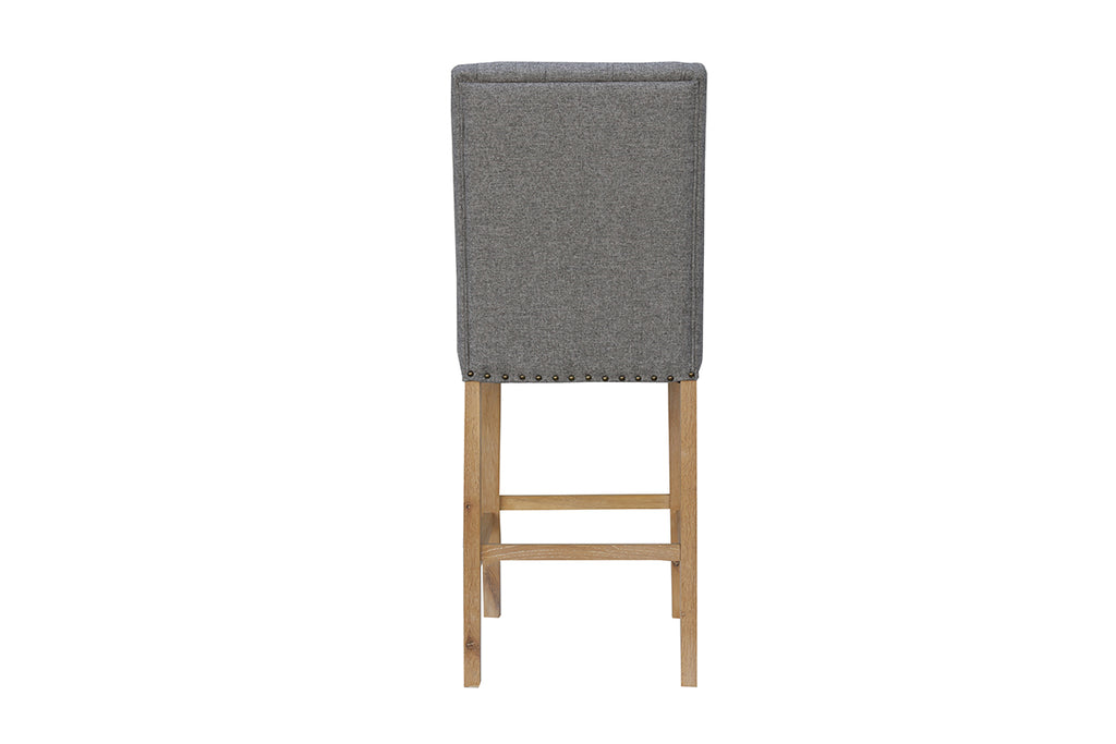 New York Button back stool with studs  Light Grey
