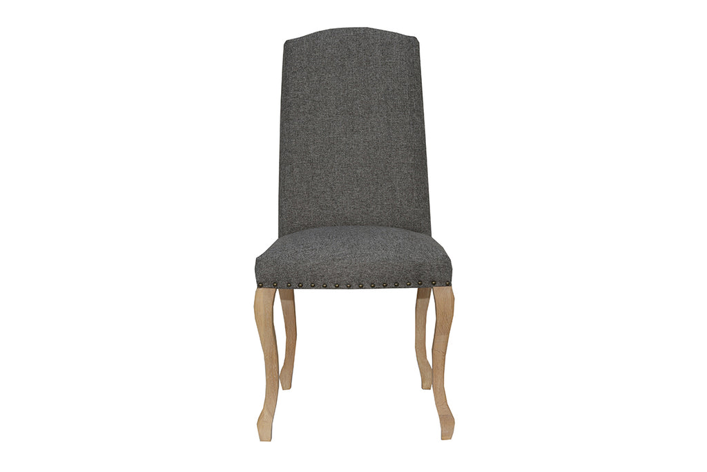 New York Luxury Chair with Studs and Carved Oak Legs  Dark Grey