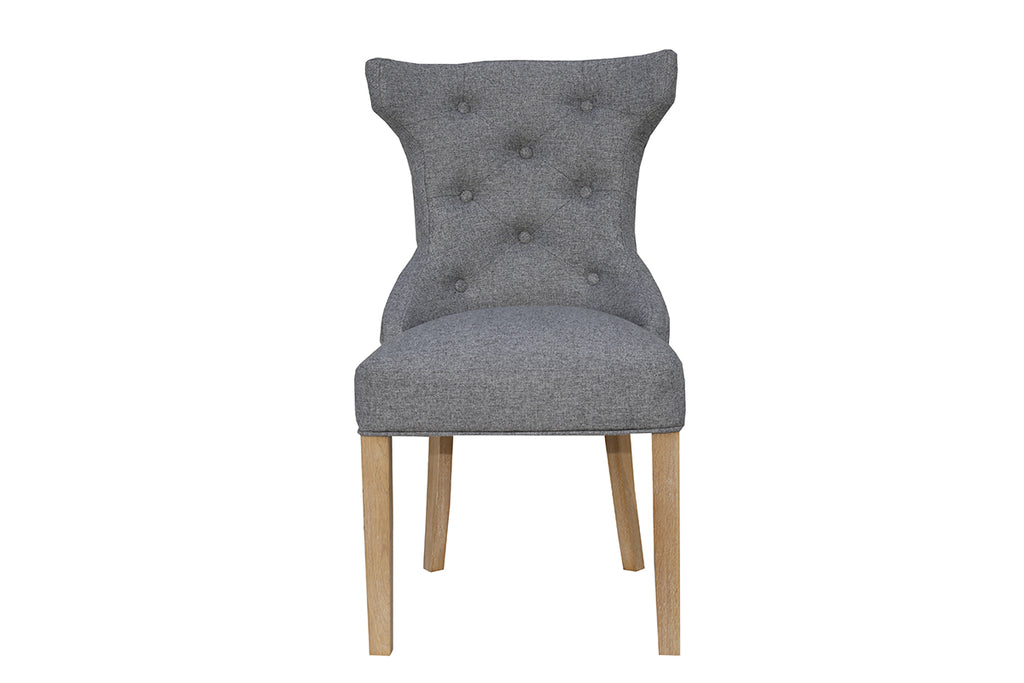 New York Winged Button Back Chair with metal ring  Dark Grey