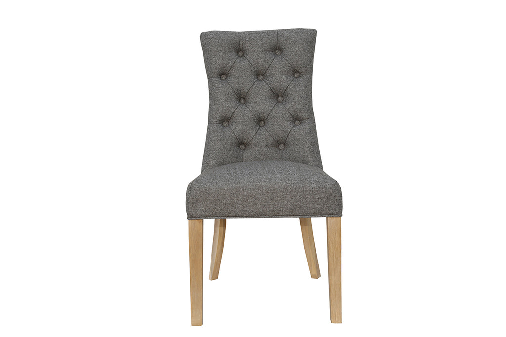 New York Curved Button Back Chair  Dark Grey