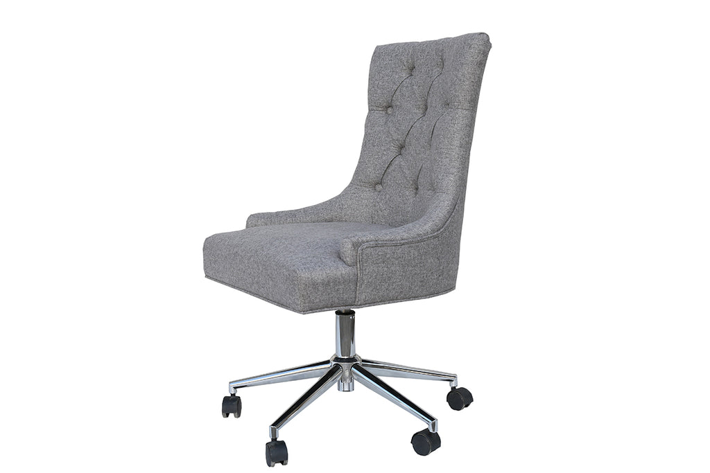 New York Winged Button Back Office Chair Light Grey