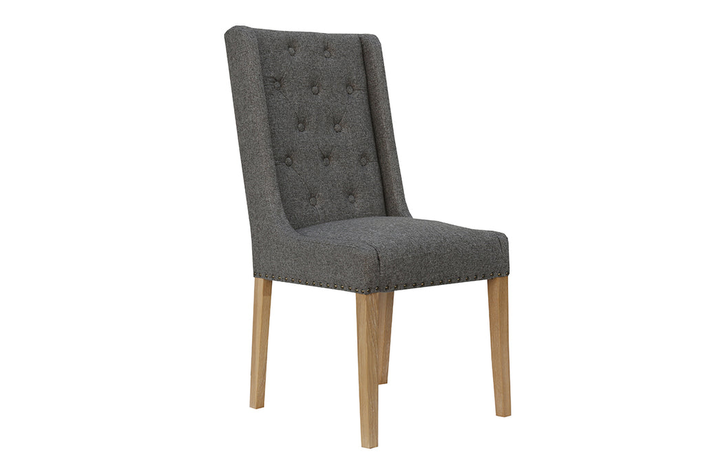 New York Button Back and Studded Dining Chair  Dark Grey