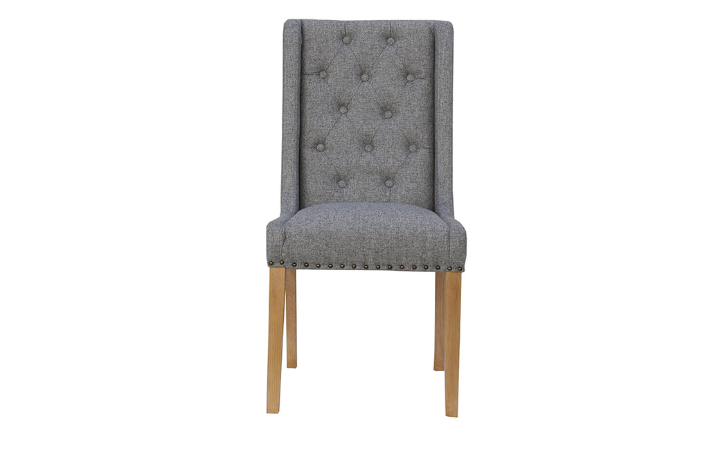 New York Button Back and Studded Dining Chair  Light Grey