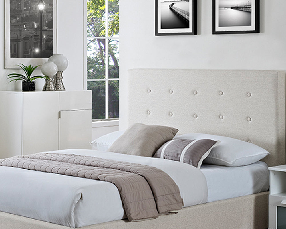 Chanel Cream Fabric Storage Bed Frame