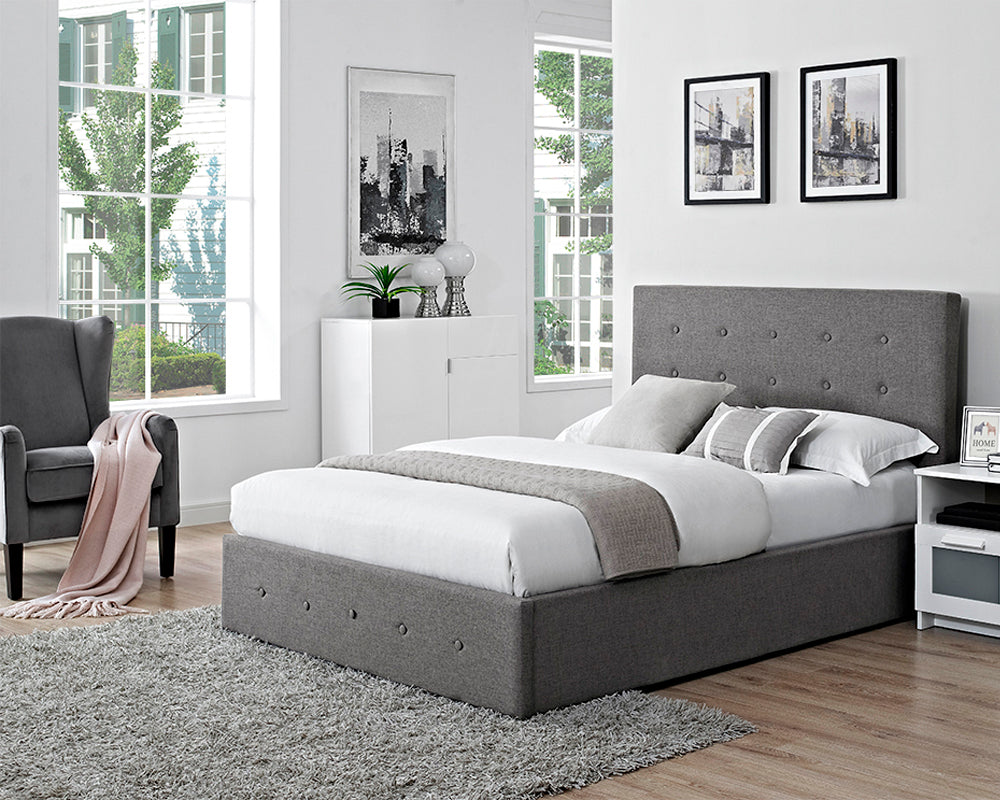 Chanel Grey Fabric Storage Bed Frame