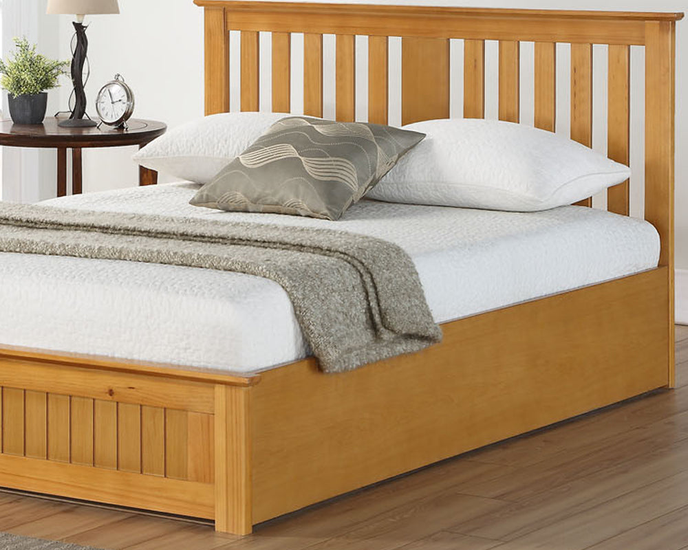 Cohiba Wooden Oak Finish Storage Bed Frame