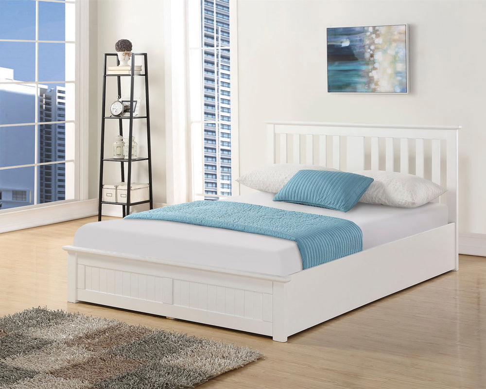 Cohiba White Wooden Storage Bed