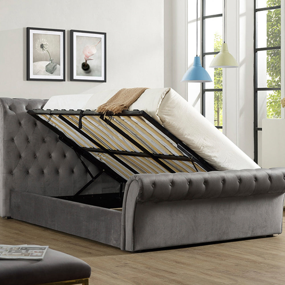 Everest Grey Velvet Storage Bed Frame