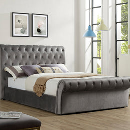 Everest Grey Velvet Storage Bed