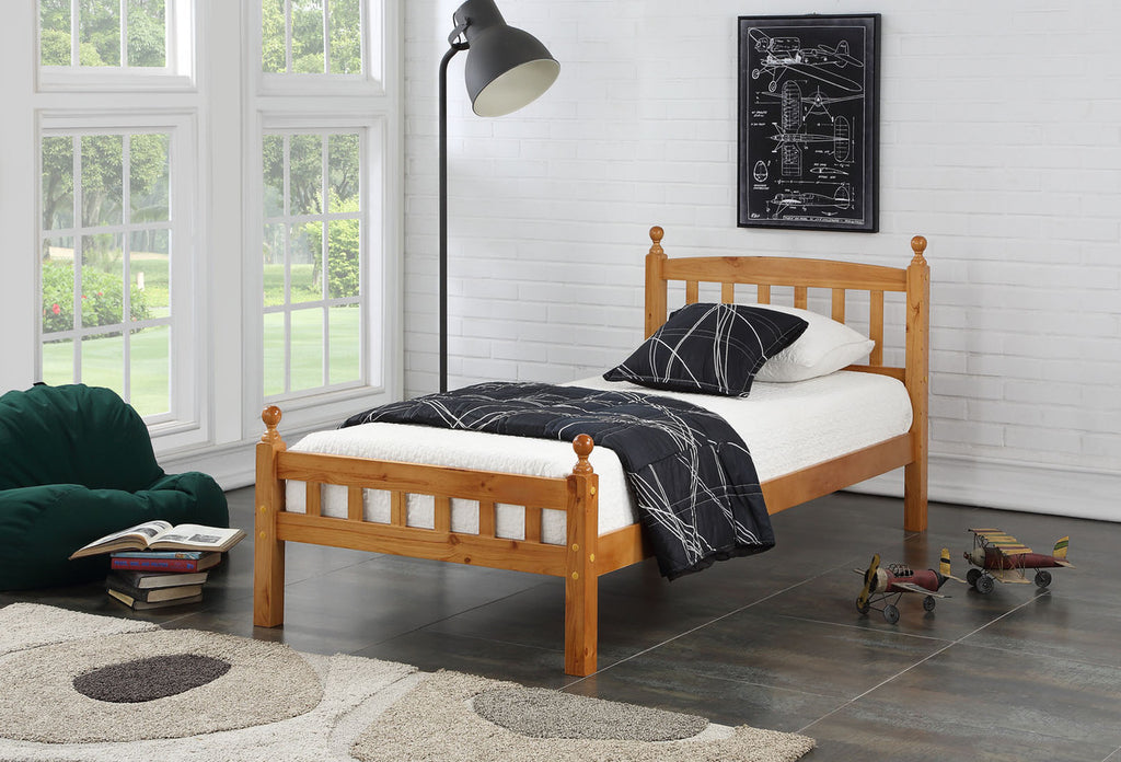 Jennifer Oak Finish Wooden Bed Frame