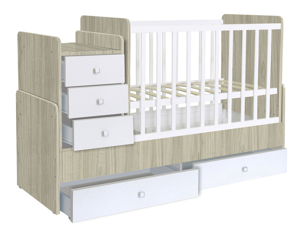 Convertible Cotbed 1100 with drawer unit, elm-white