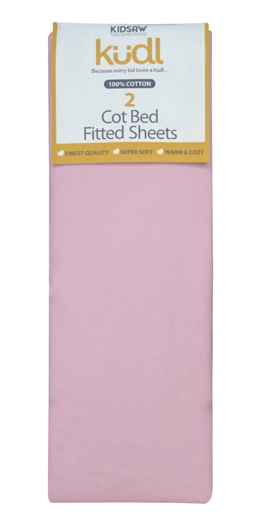 Cotbed 100% Cotton Fitted Sheets (2) Pink