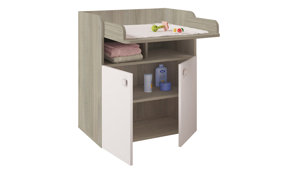 Kids Changing Board Cupboard with Storage 1270 - Elm