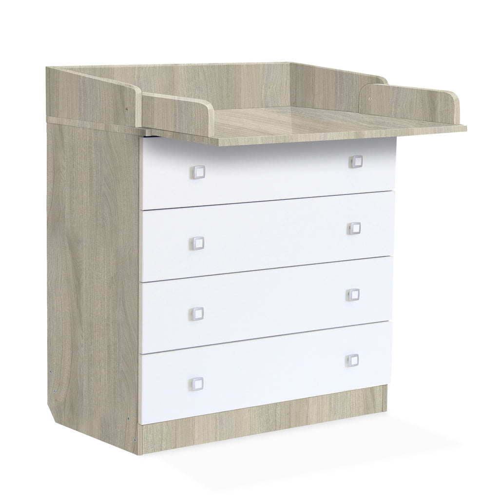 Kids 4 Drawer Unit 1580 With Changing Board and Storage - Elm-White