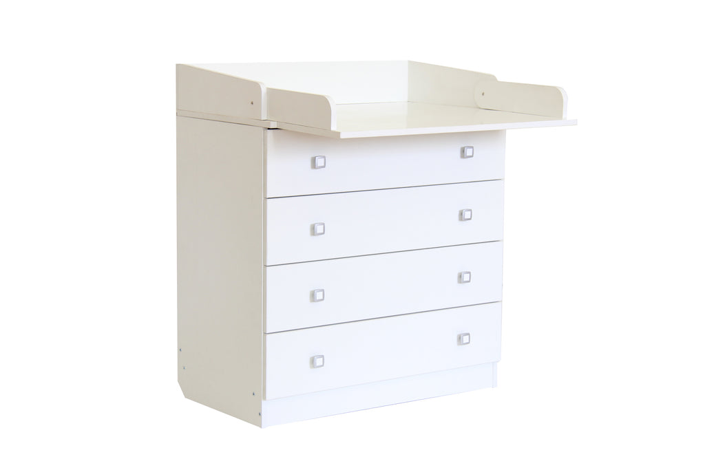 Kids 4 Drawer Unit 1580 With Changing Board and Storage - White