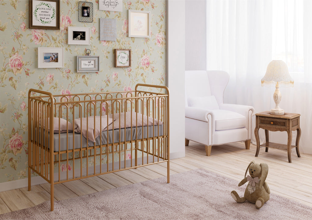 Kids Vintage Metal Baby Cot 150, Gold