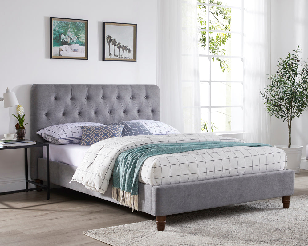 Marita Grey Fabric Upholstered Bed Frame