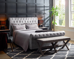 Serenity Crushed Grey Velvet Sleigh Bed
