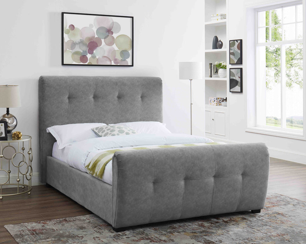 Tampa Brushed Velvet Silver Bed