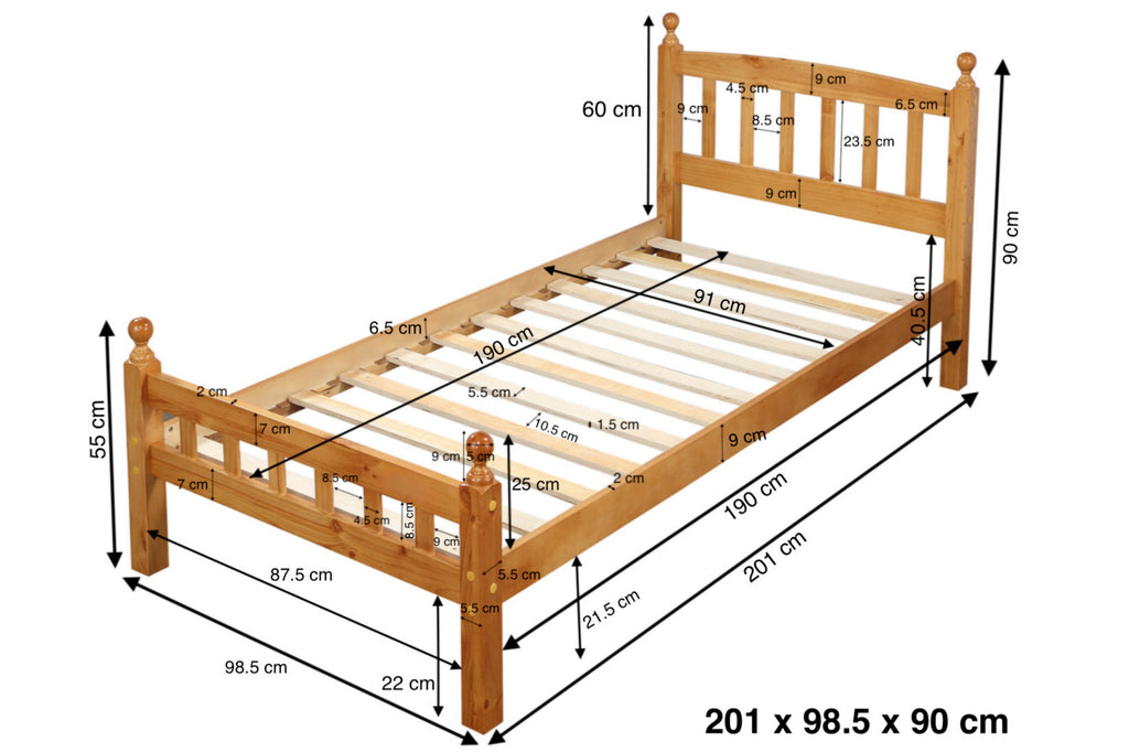 Jennifer White Wooden Bed Frame