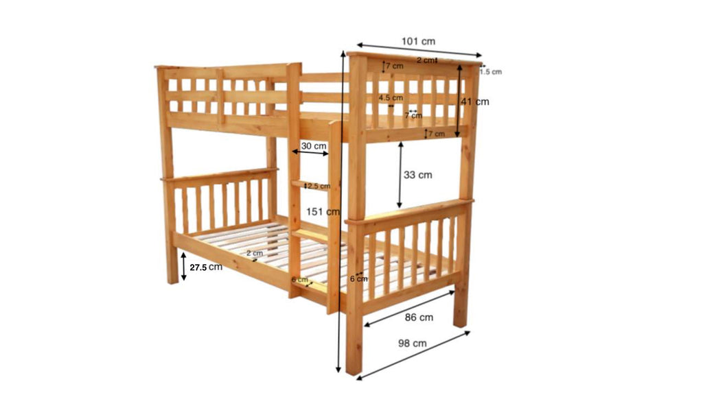 Novaro Oak Wooden Bunk Bed