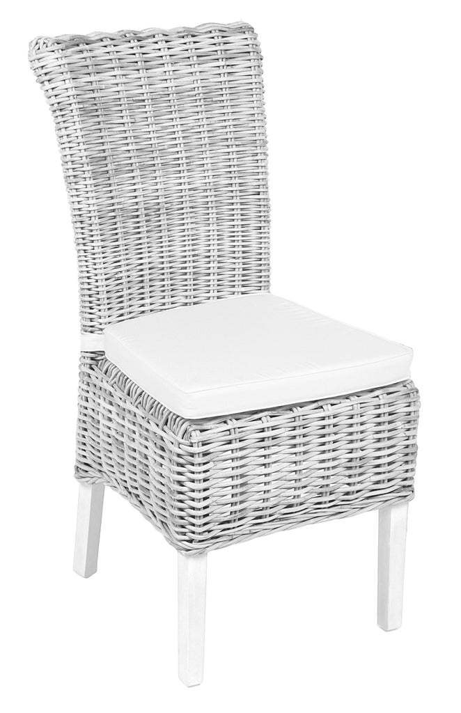 Praque Wicker chair including cushion white wash