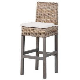 Praque Wicker bar stool with cushion