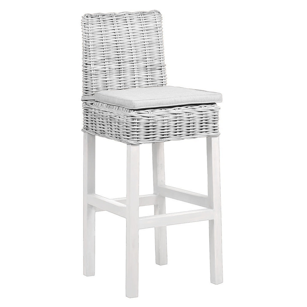 Praque Wicker bar stool with cushion in white wash