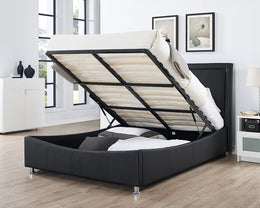 Zues Black Faux Leather Storage Bed