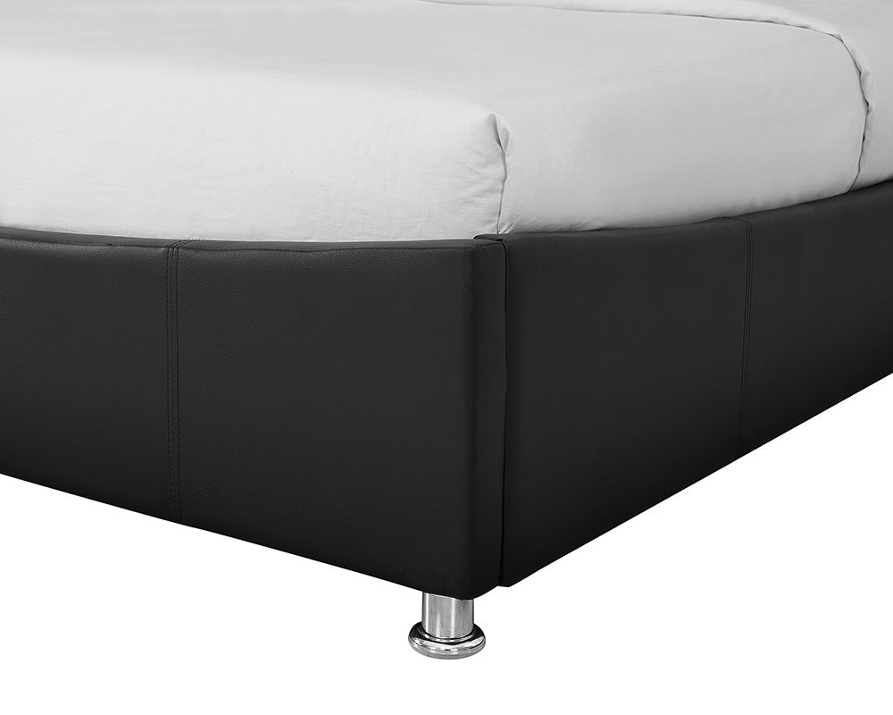 Zues Black Faux Leather Storage Bed Frame