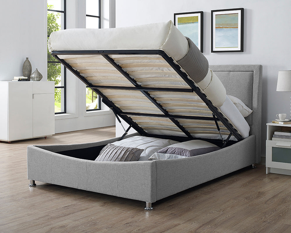 Zues Grey Fabric Storage Bed