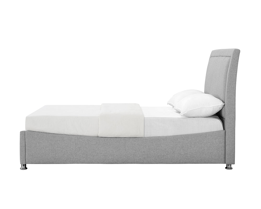 Zues Grey Fabric Storage Bed Frame
