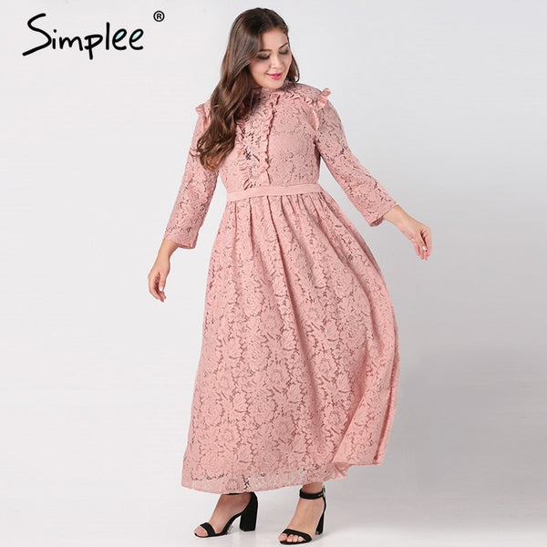 Simplee Elegant lace long dress women plus size Long sleeve mesh hollow out  maxi dress Autumn female embroidered party vestidos