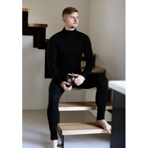 Merino wool trousers for men black
