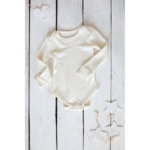 Merino and silk long sleeve baby bodysuits