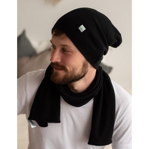 merino wool beanie hat and scarf for men