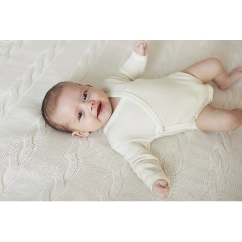 Merino and silk newborn long sleeve bodysuit