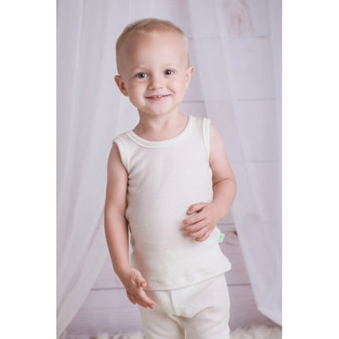 Merino and silk sleeveless T-shirt for kids