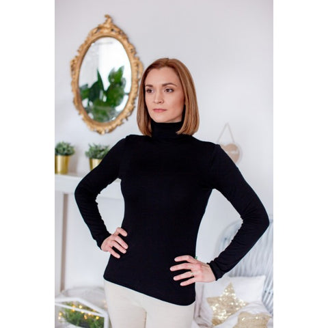 Merino wool women long sleeve turtleneck T-shirt